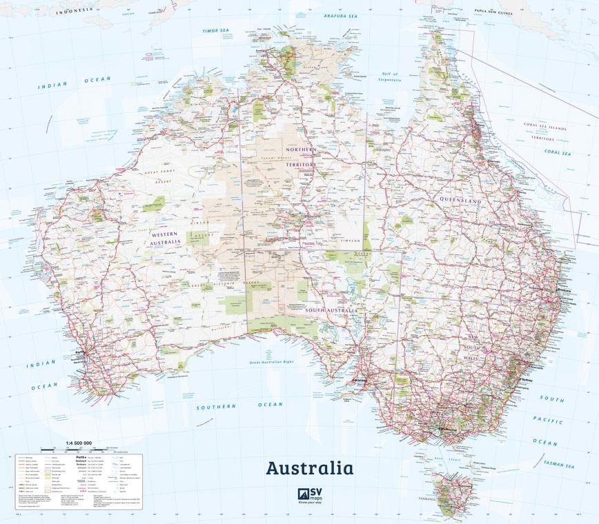 Australia Poster Map In English
