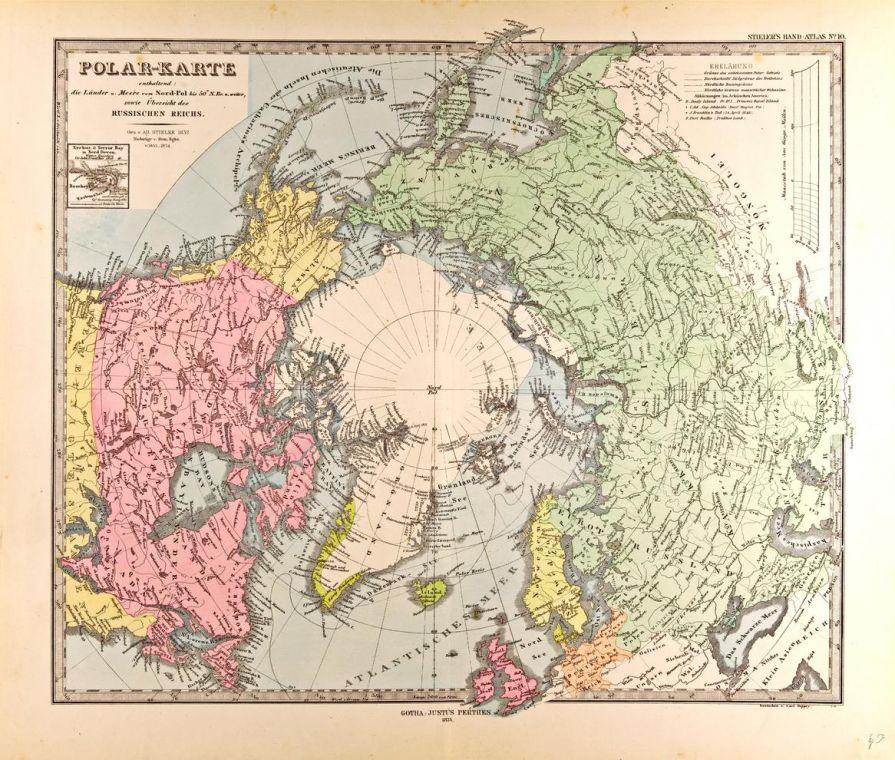 Polar Map In German Gotha Justus Perthes 1872 Atlas
