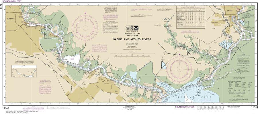 Noaa Chart 11343 Sabine And Neches Rivers
