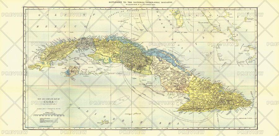 Cuba Published 1906 Map