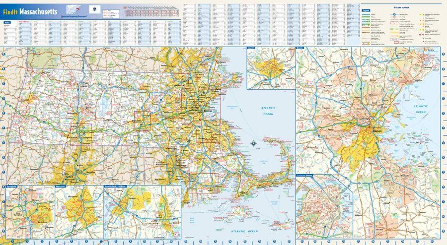 Massachusetts State Wall Map