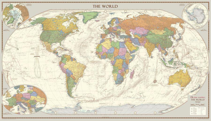 Antique Style World Map Large