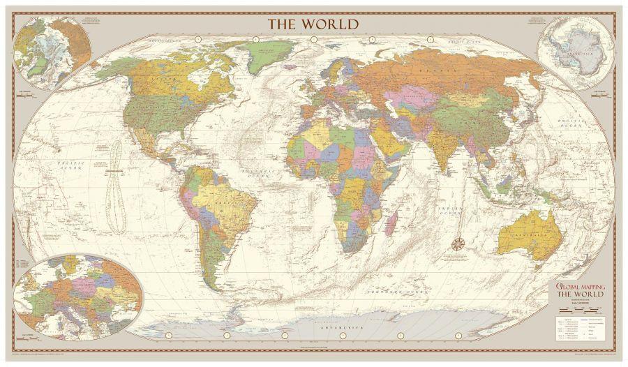 Antique Style World Map Medium