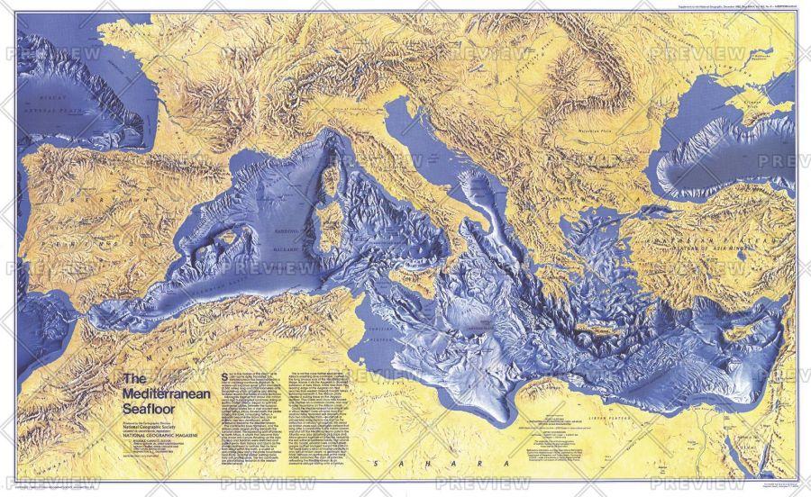 Mediterranean Seafloor Published 1982 Map