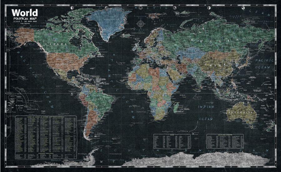 World Chalk Style Map