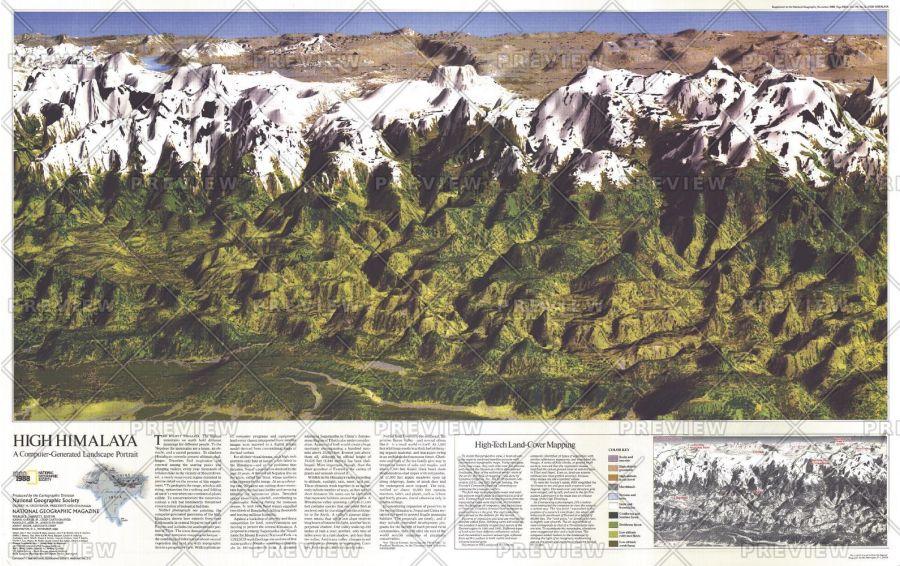 High Himalaya Published 1988 Map