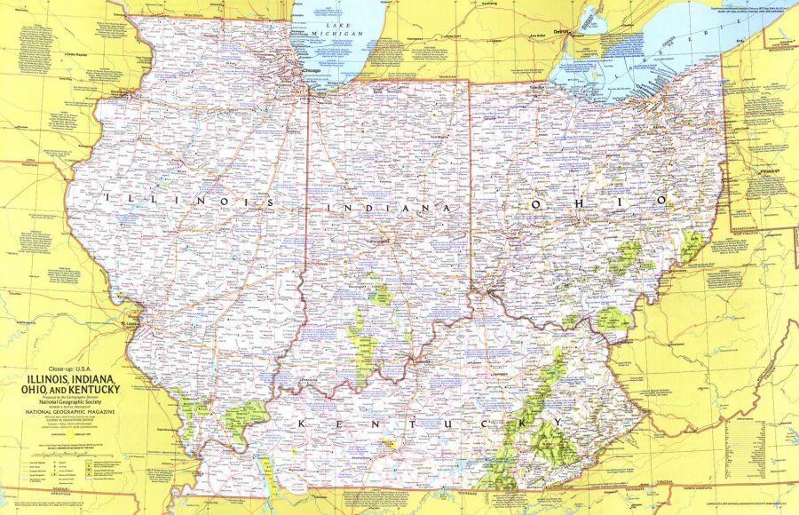 Close Up Usa Illinois Indiana Ohio Kentucky Published 1977 Map