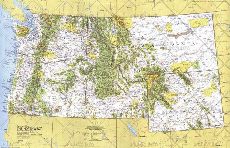 Close Up Usa Northwest Published 1973 Map