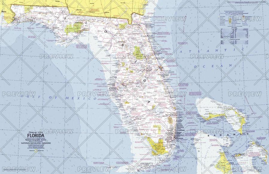 Close Up Usa Florida Published 1973 Map