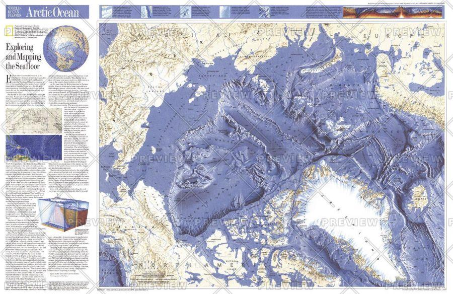 World Ocean Floors Arctic Ocean Published 1990 Map