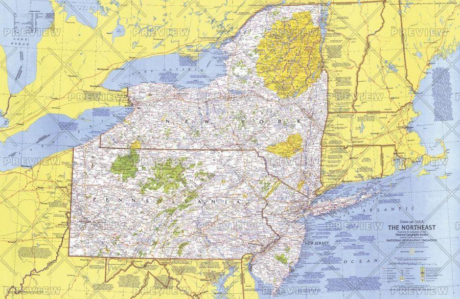 Close Up Usa Northeast Published 1978 Map