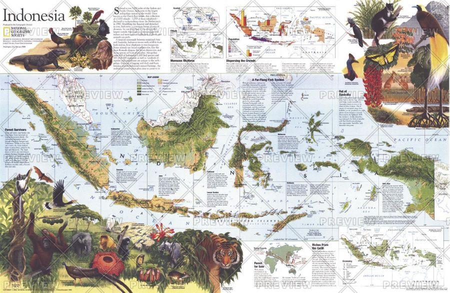 Indonesia Theme Published 1996 Map