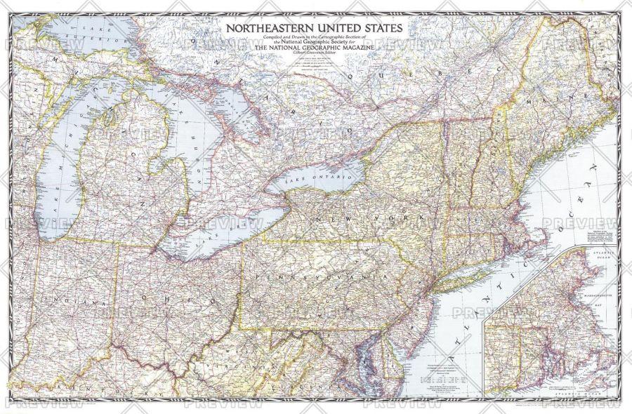 Northeastern United States Published 1945 Map