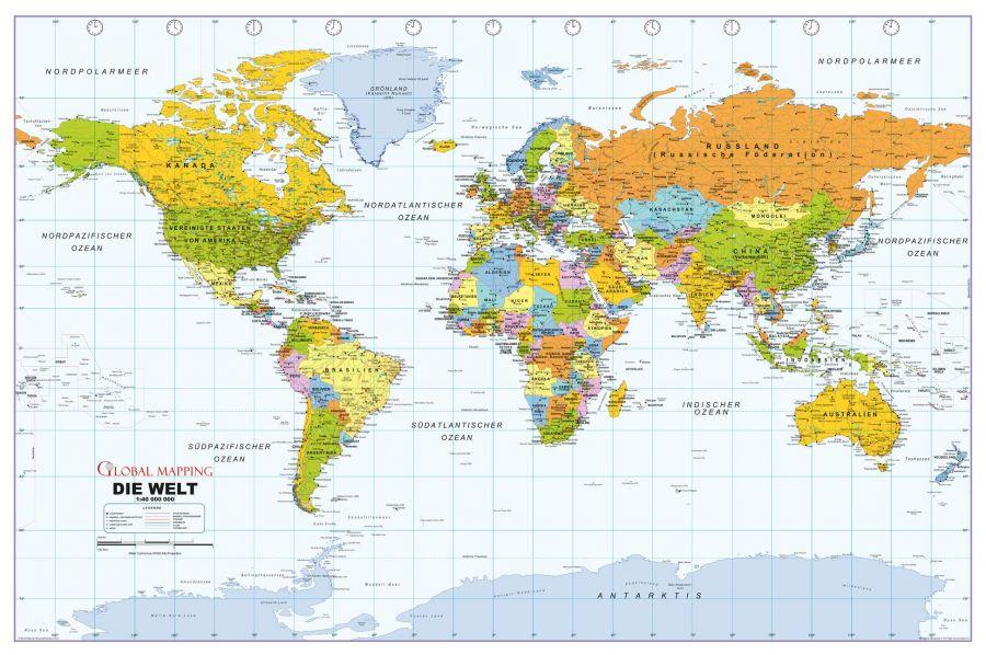 Political World Wall Map German Language