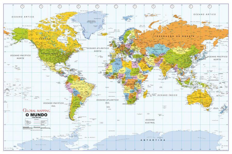 Political World Wall Map Portuguese Language