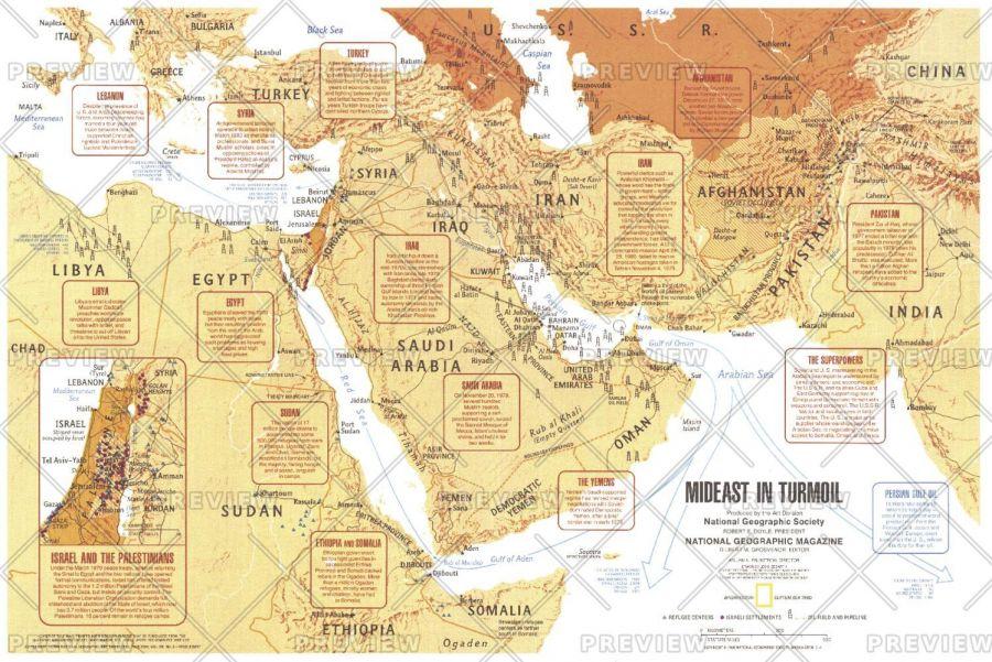 Mideast In Turmoil Published 1980 Map