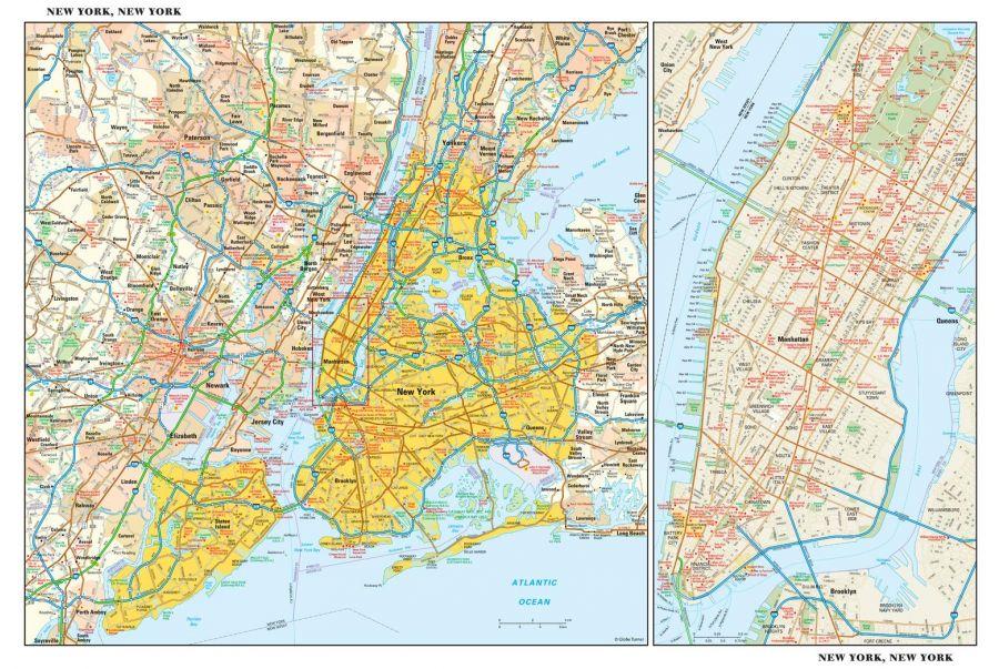 New York New York Wall Map