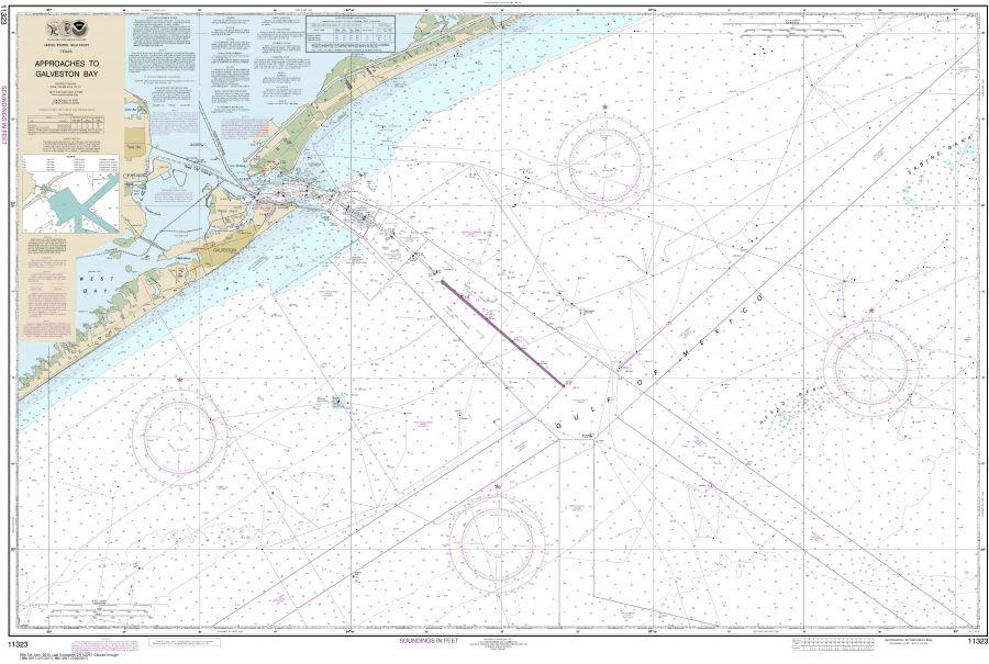 Noaa Chart 11323 Approaches To Galveston Bay