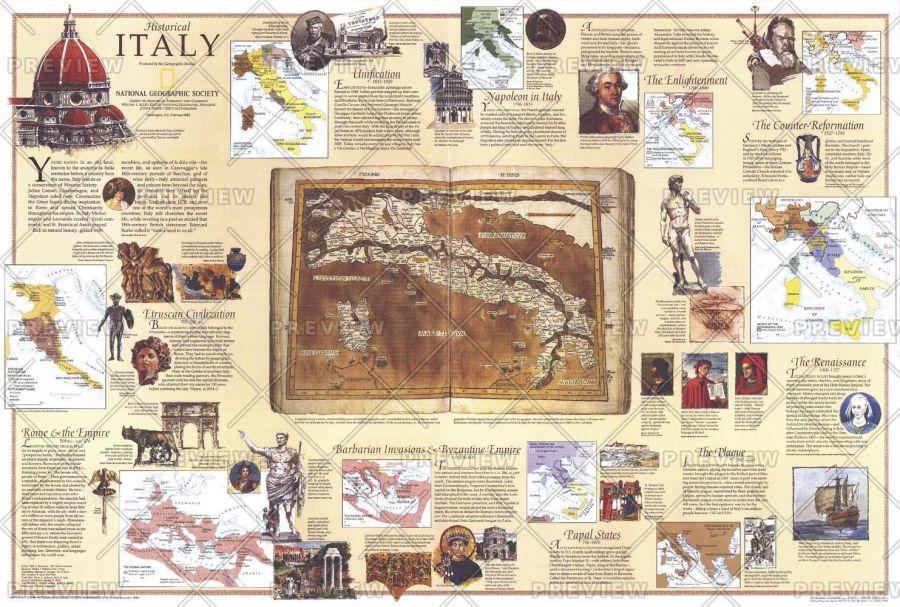 Historical Italy Theme Published 1995 Map