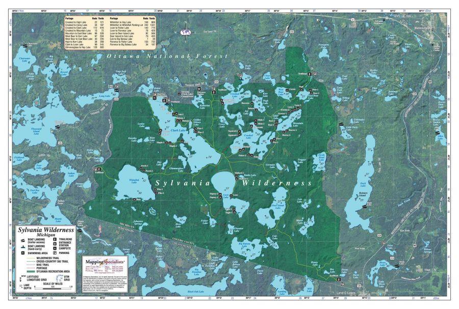 Sylvania Wilderness Area Map