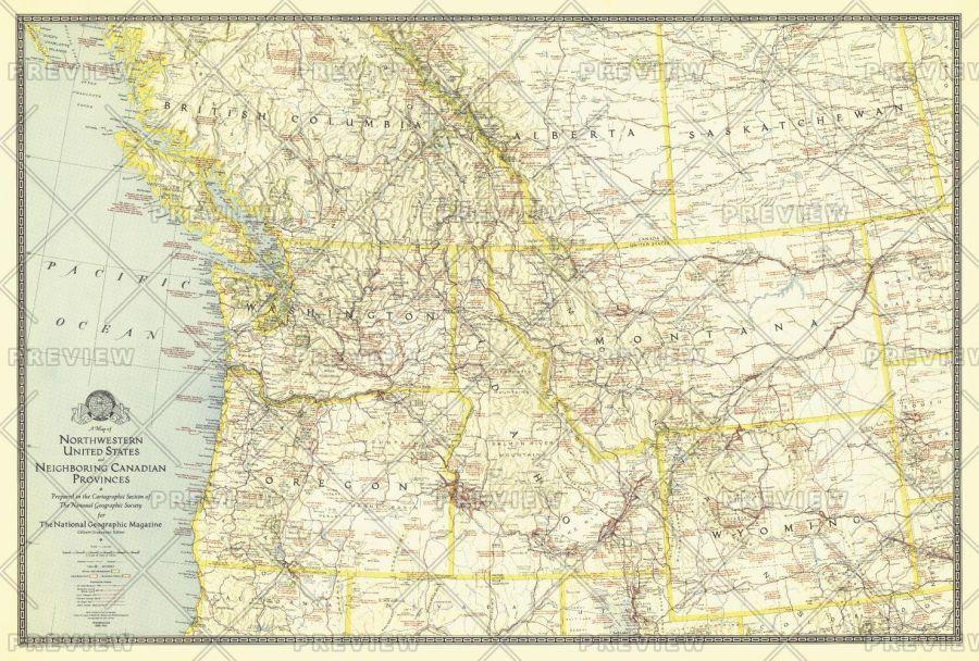 Northwestern United States And Canadian Provinces Published 1941 Map