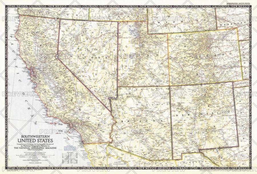 Southwestern United States Published 1948 Map