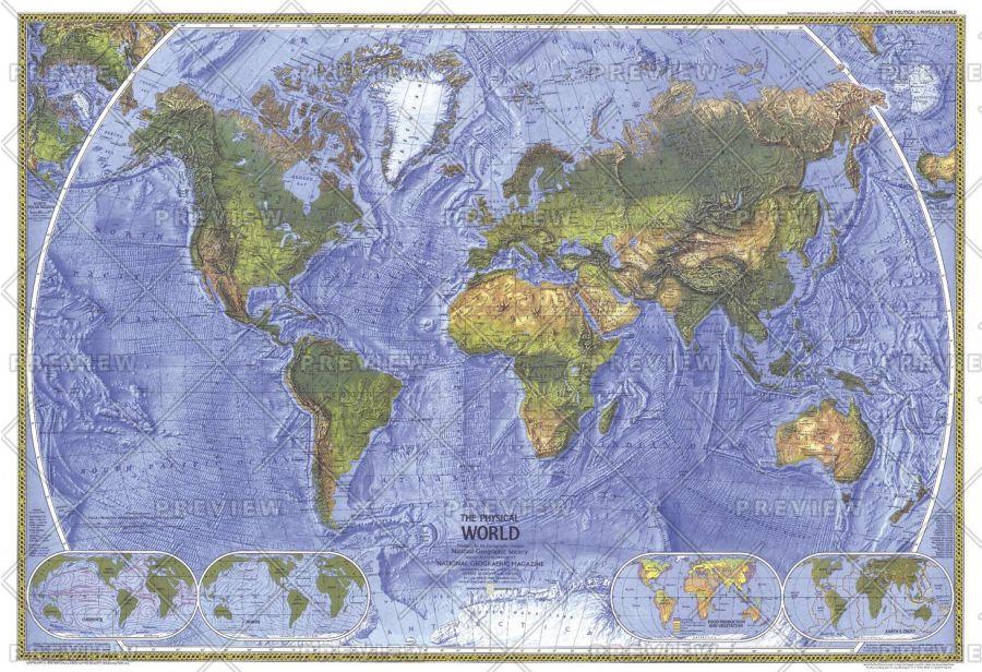 Physical World Published 1975 Map