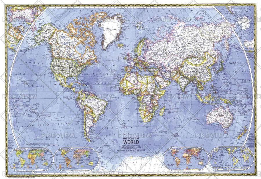 Political World Published 1975 Map