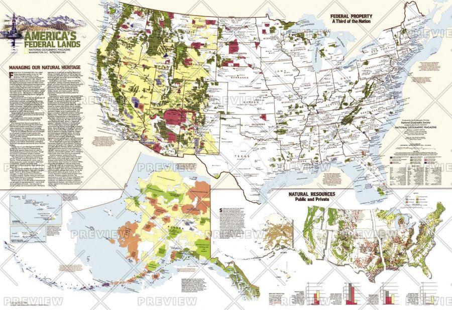 United States Federal Lands Published 1982 Map