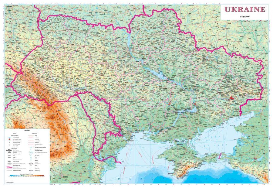 Ukraine Physical Wall Map Latynka