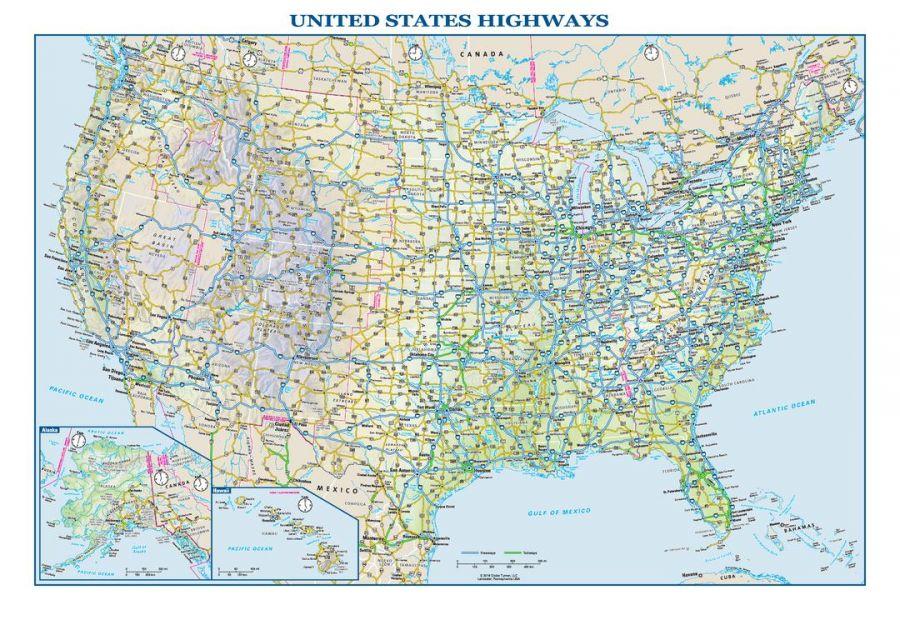 Usa Interstate Highways Wall Map