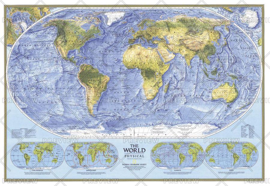 World Physical Published 1994 Map