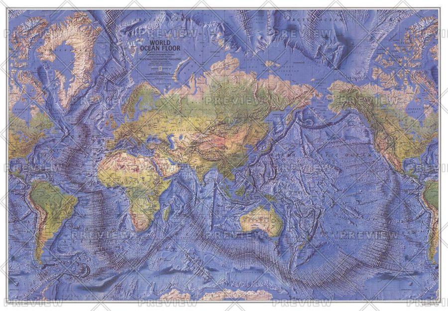 World Ocean Floor Published 1981 Map
