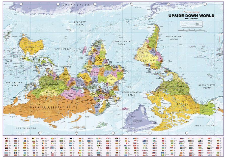 Upside Down World Political Wall Map