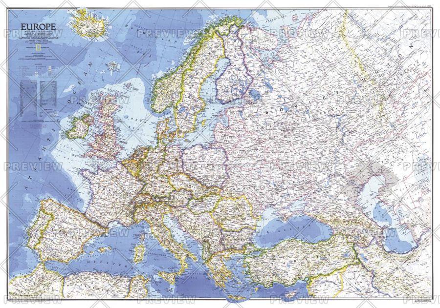 Europe Published 1983 Map