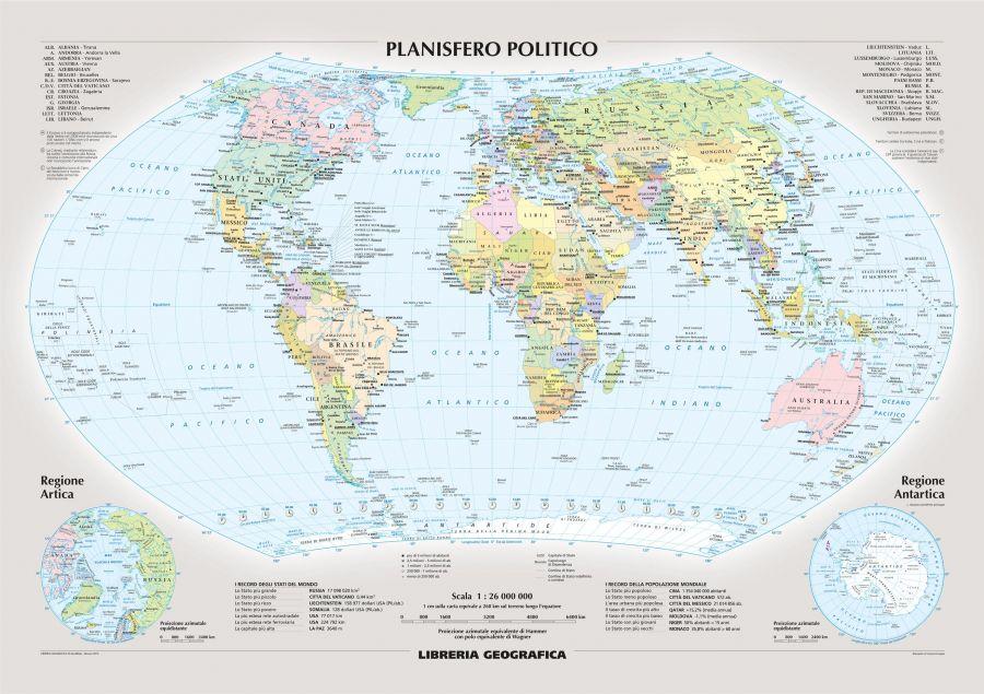 Political World Wall Map Italian