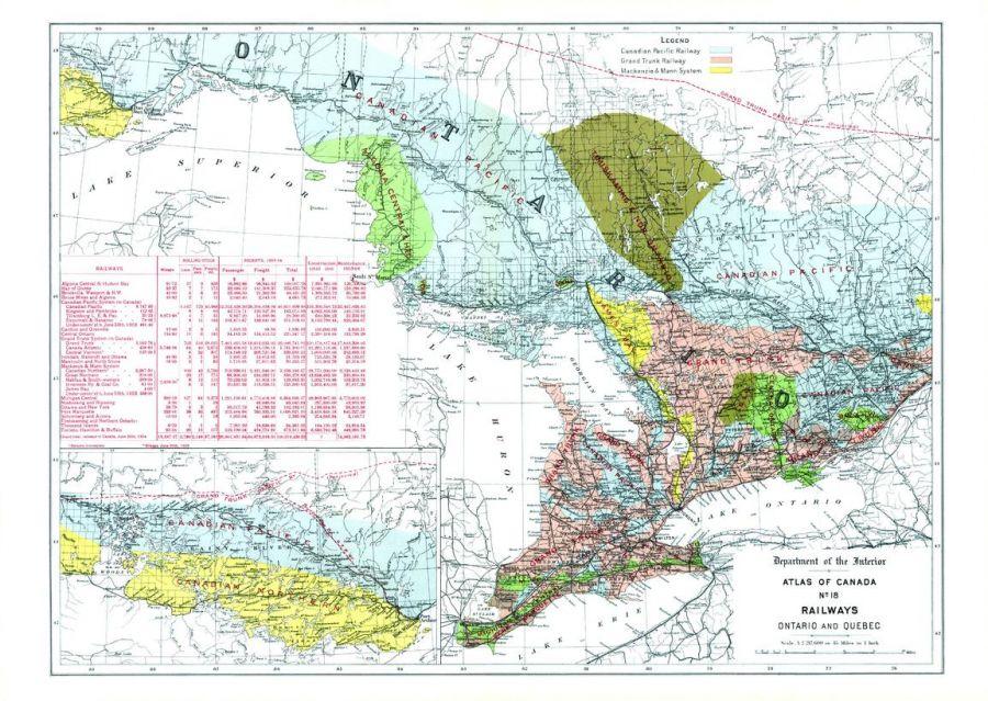 Railways Ontario And Quebec 1906 Map