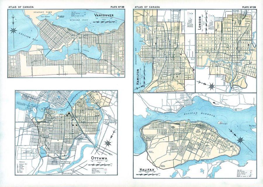 Vancouver Ottawa Hamilton London Halifax 1906 Map