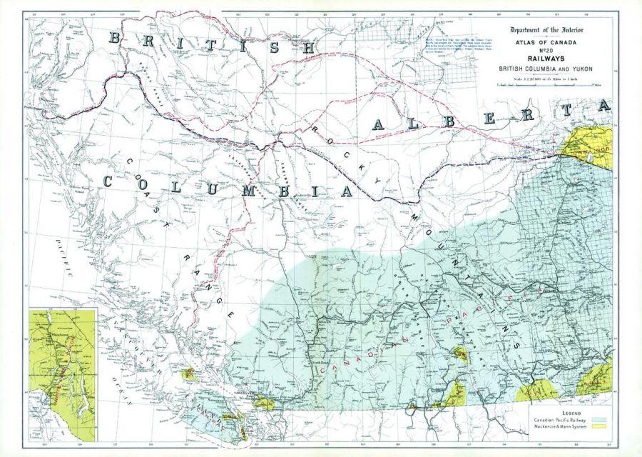 Railways British Columbia And Yukon 1906 Map