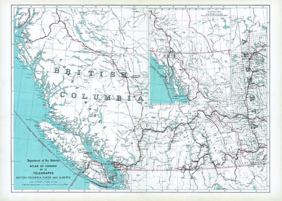 Telegraphs British Columbia Yukon And Alberta 1906 Map