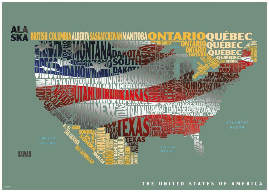 Graphic Map Usa Flag