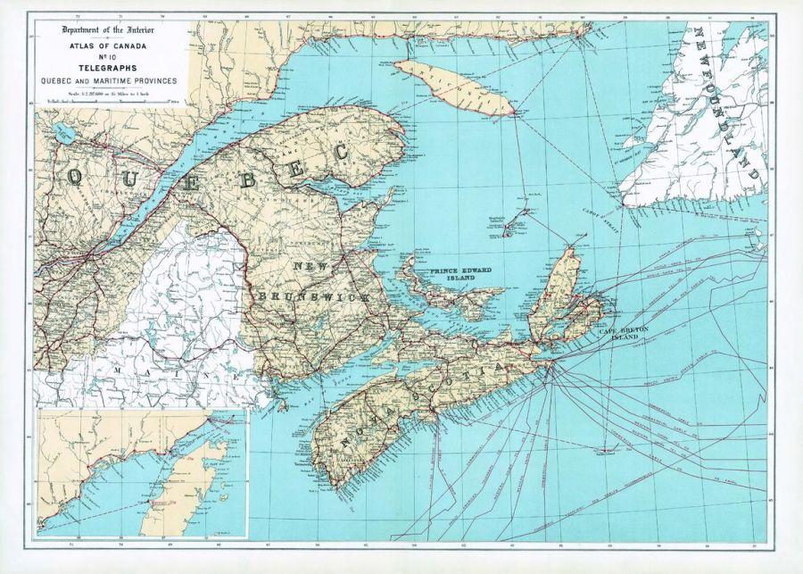 Telegraphs Quebec And Maritime Provinces 1906 Map