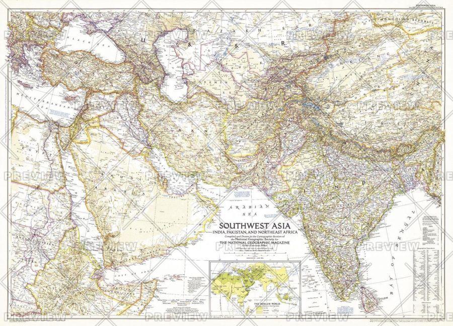 Southwest Asia Published 1952 Map