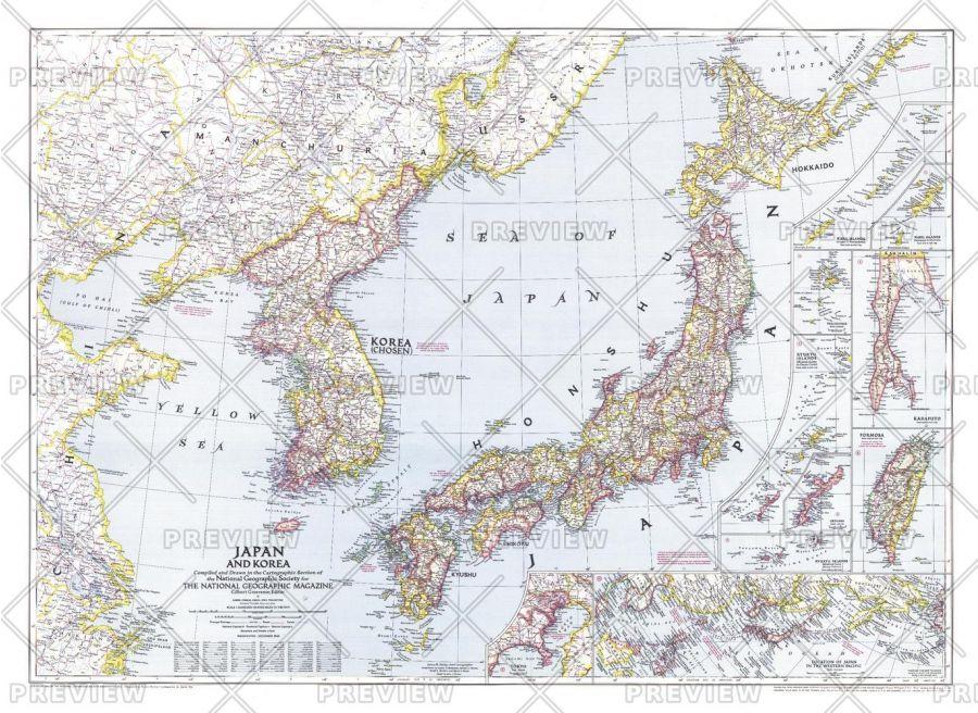 Japan And Korea Published 1945 Map