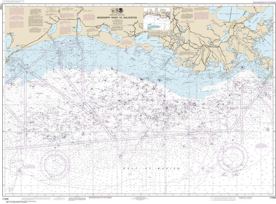Noaa Chart 11340 Mississippi River To Galveston
