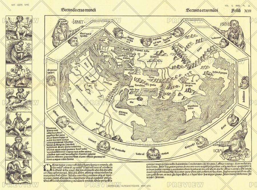 Chronicon Nurembergense 1493 Map Published 1893