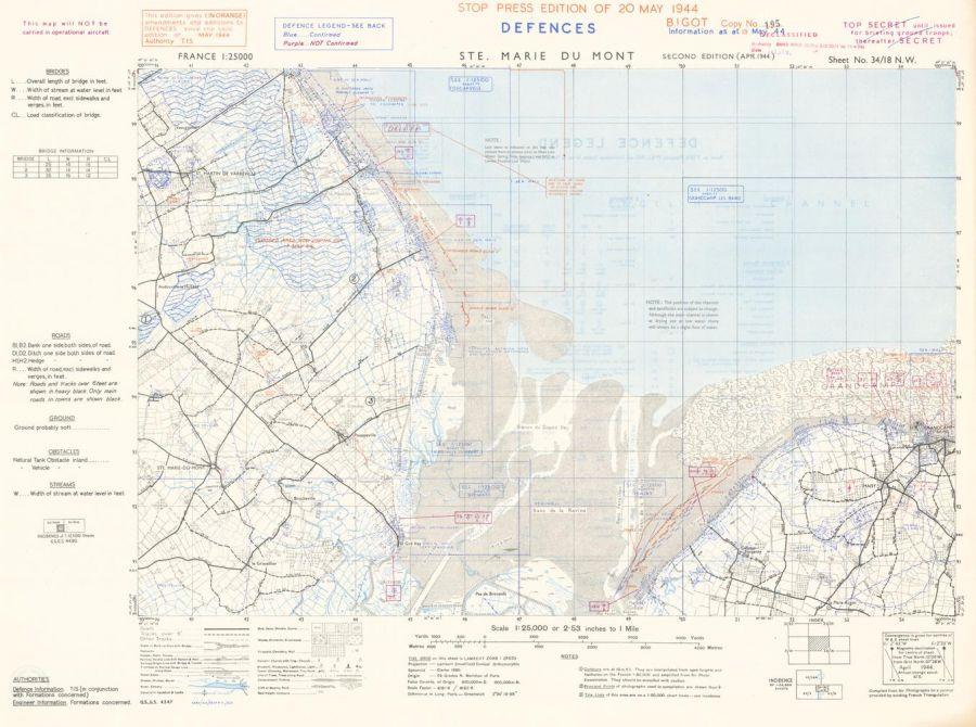 D-Day - Ste. Marie du Mont - Normandy - Wall Map