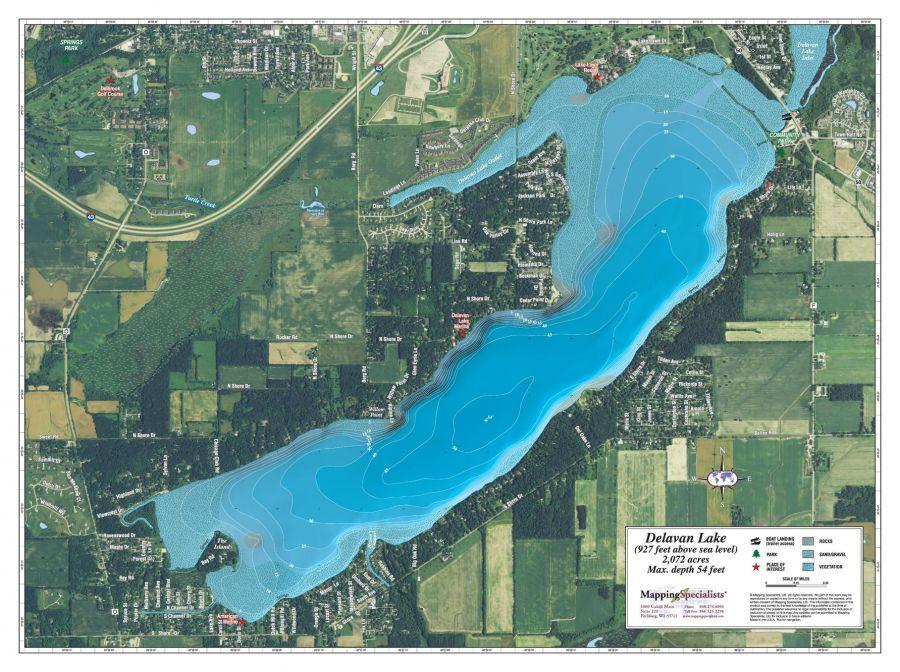 Delavan Lake Map