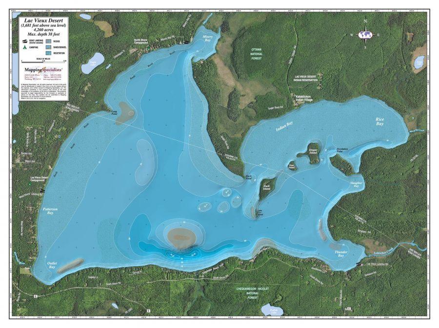 Lac Vieux Desert Lake Map