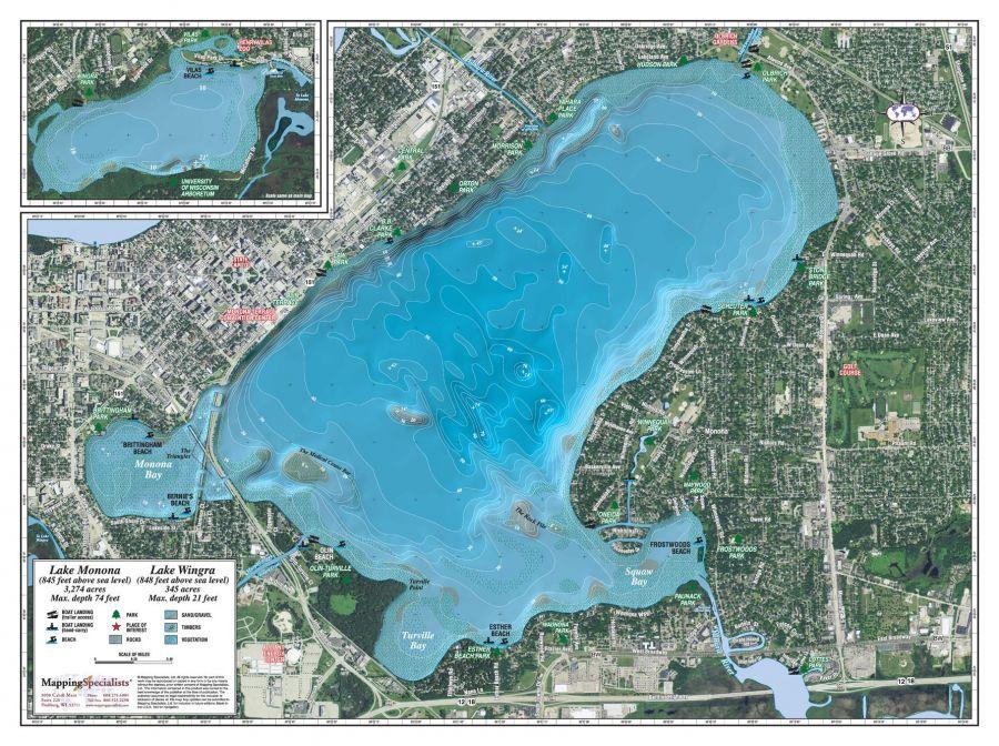 Monona Wingra Lake Map